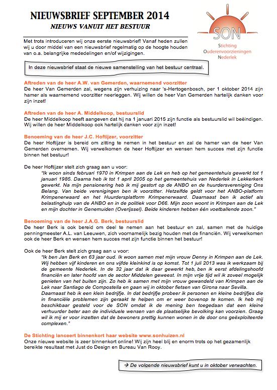 SON - Nieuwsbrief september 2014