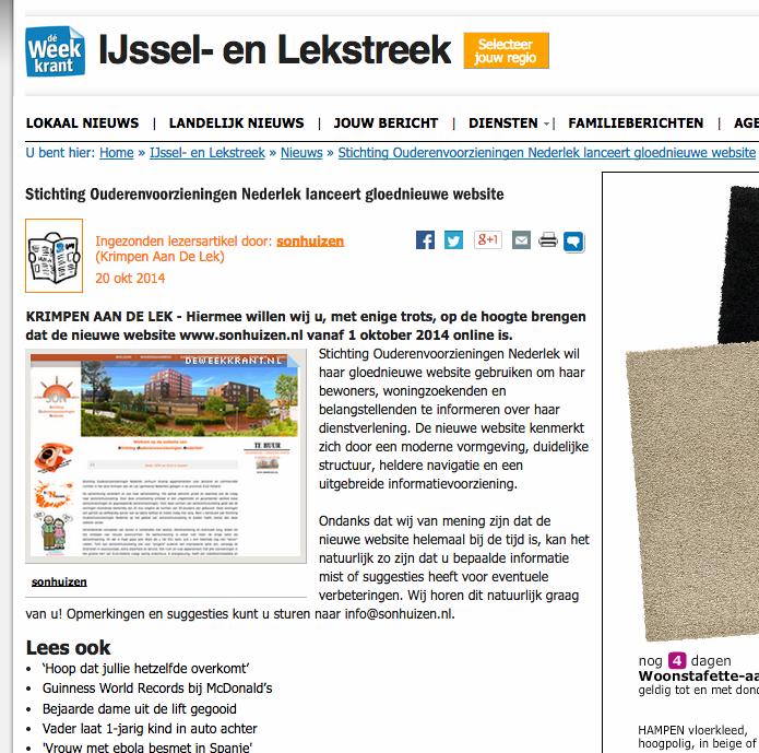 SON - De Weekkrant IJssel en Lekstreek - Lancering website