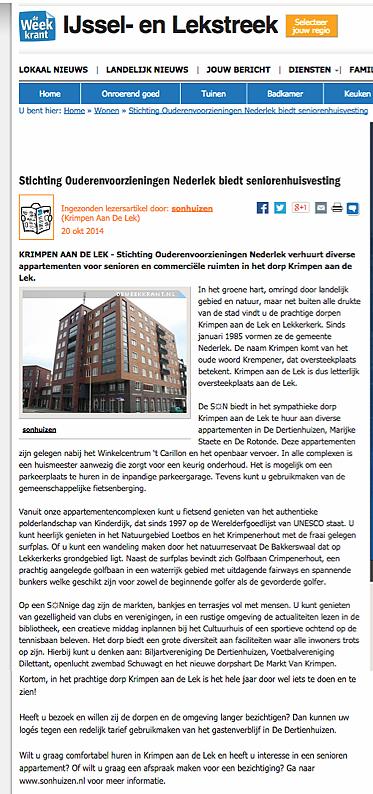 SON - De Weekkrant IJssel en Lekstreet - Seniorenhuisvesting
